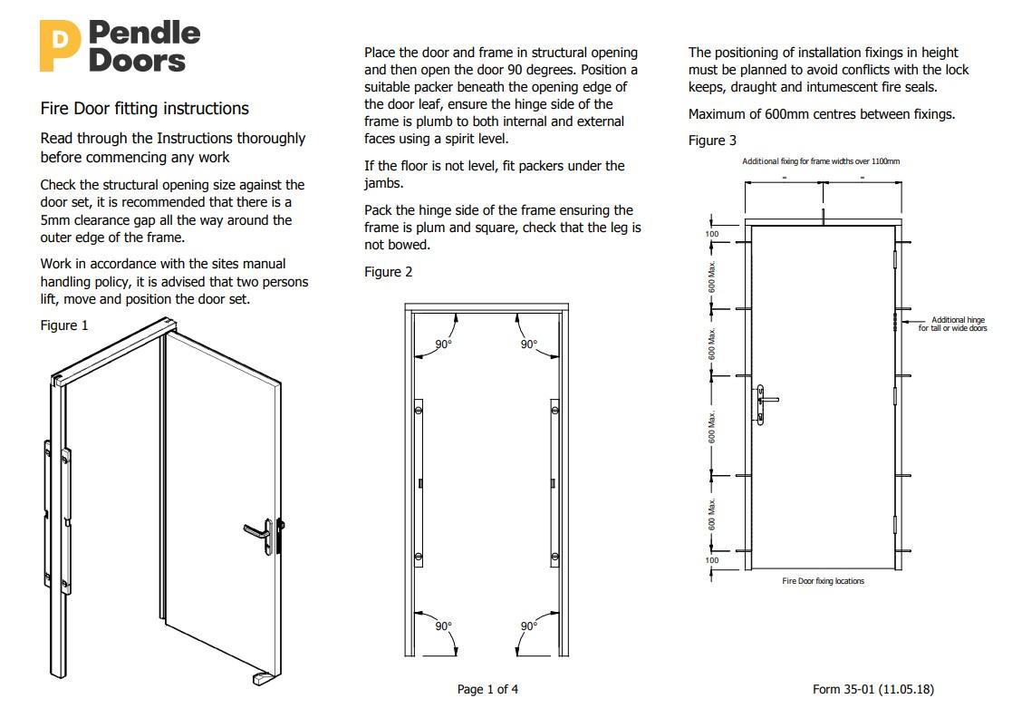 Fire Door ing Instructions - Pendle Doors Fire Rated Door Installation Instructions on